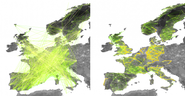 Mobility networks in Europe. Left: airport network; Right: commuting network.