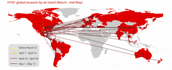 Global invasion of the H1N1 influenza by air travel during the early outbreak.
