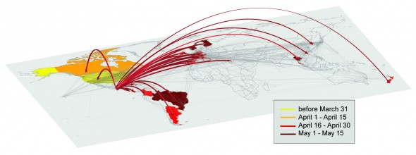 Illustration of the global invasion of the 2009 H1N1 pandemic during the early stage of the outbreak. The arrows represent the seeding of unaffected countries due to infected individuals traveling from Mexico. The color code indicates the time of the seeding. The map shows the layer of the worldwide air transportation network, which is incorporated into GLEaM.