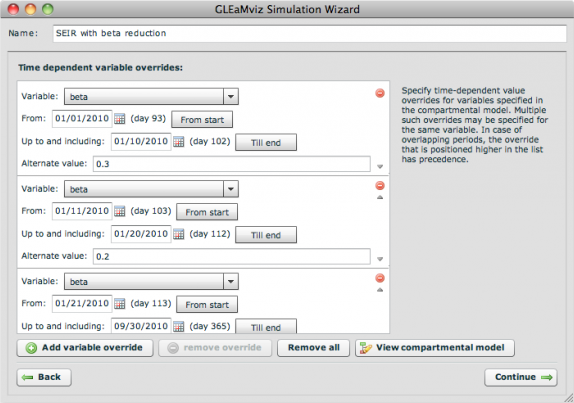 New panel in the Simulation Wizard that enables the modeler to specify time-dependent variable overrides.