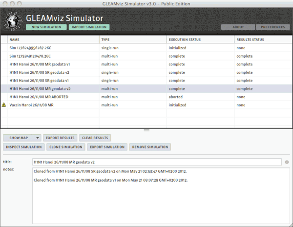 Simulation manager window.