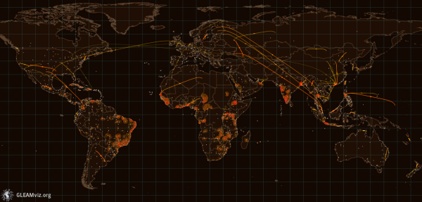 World pandemic map